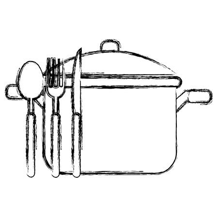 kitchen pot with cutleries vector illustration design Illustration