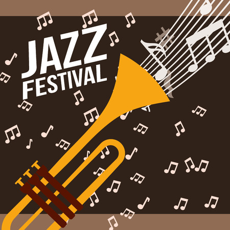 jazz festival trumpet play music  notes background vector illustration  イラスト・ベクター素材