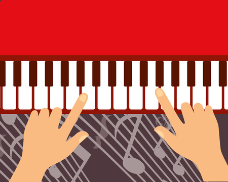 jazz festival instruments hands play piano music notes vector illustration