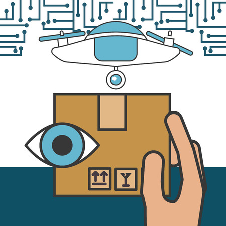 drone technology futuristic device holding box surveillance eye vector illustration