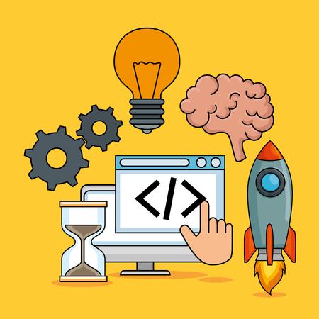 start up business set icons vector illustration design Stock Vector - 114876736