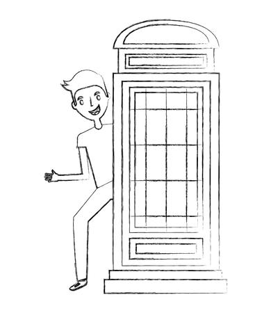 classic british telephone booth with young man vector illustration design Foto de archivo - 114876750