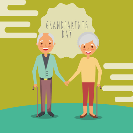 grandparents day green label background older couple holding hands vector illustration 스톡 콘텐츠 - 114844100