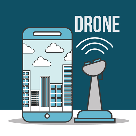 drone technology futuristic smartphone control signal clouds buildings vector illustration