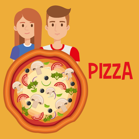 young couple with italian pizza vector illustration design