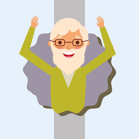 grandparents day happy old grandfather hands up with beard vector illustration