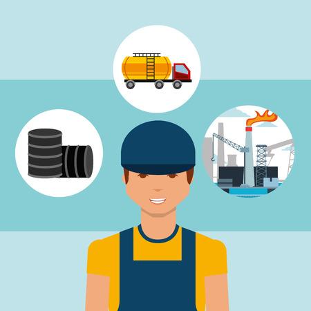 worker barrels truck tanker and plant oil industry vector illustration