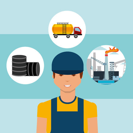 worker barrels truck tanker and plant oil industry vector illustration