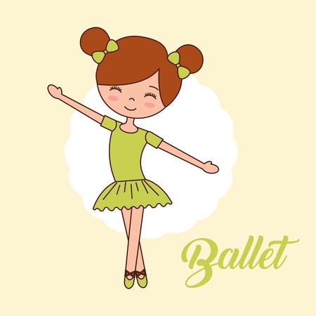 beautiful ballerina ballet girl standing hands up dance vector illustration
