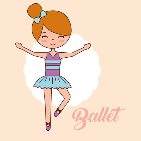 beautiful ballerina ballet girl standing on one foot smiling vector illustration Banque d'images - 114889822