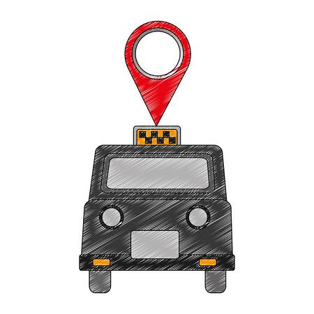 London Taxi mit Pin Standort Vektor-Illustration Design
