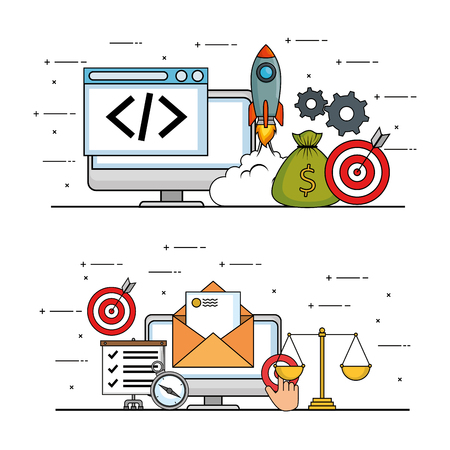 start up business set icons vector illustration design Stock Vector - 114889827