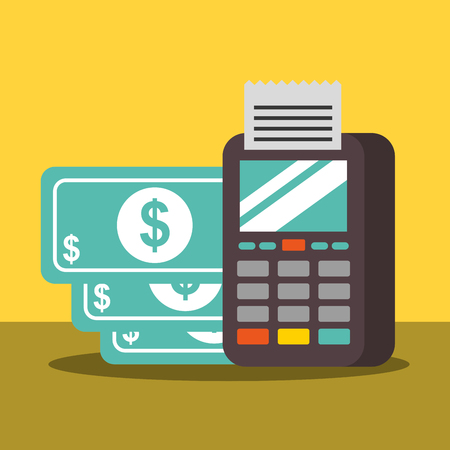 nfc payment technology dataphone money vector illustration
