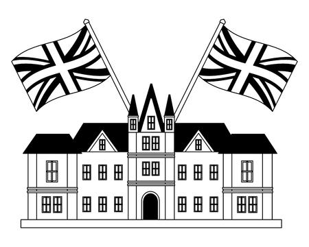 edinburgh castle united kingdom flags vector illustration black and white Stock Photo