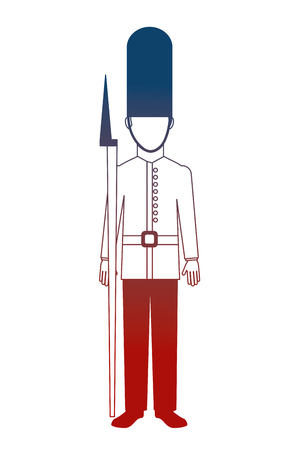 royal british guard with bearskin hat and weapon vector illustration neon