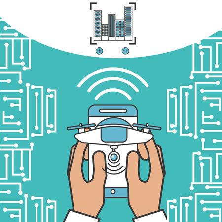 drone technology futuristic hands holding smartphone signal focus vector illustration Stockfoto
