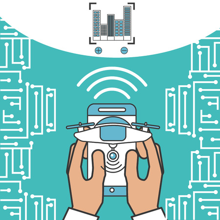 drone technology futuristic hands holding smartphone signal focus vector illustration Stock Photo
