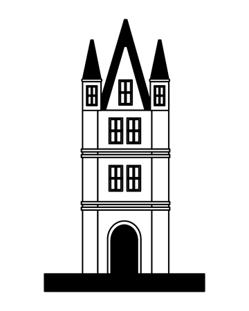 ancient tower architecture antique tower vector illustration black and white 写真素材
