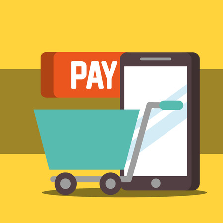 nfc payment technology shopping cart smartphone pay vector illustration Banco de Imagens