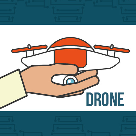 drone technology futuristic hand holding device sign vector illustration