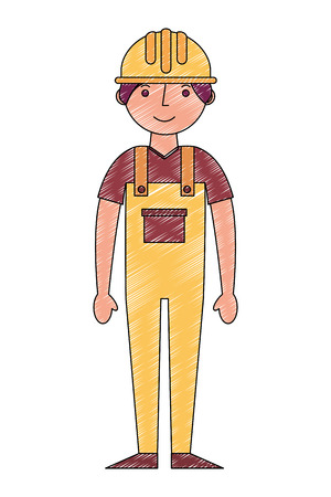 worker contruction in yellow overalls vector illustration drawing Ilustração