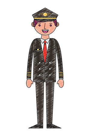commercial airplane pilot in uniform vector illustration drawing