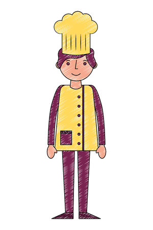 chef man professional worker uniform vector illustration drawing Illustration