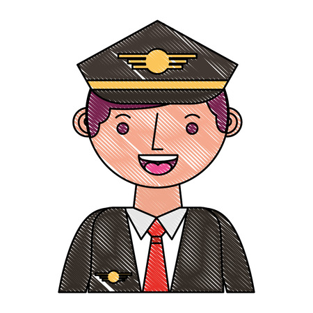 commercial airplane pilot in uniform portrait vector illustration drawing Illustration