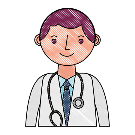 doctor professional with stethoscope in coat portrait vector illustration drawing Banque d'images - 114778892