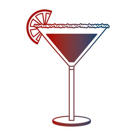 cocktail glass drink alcohol salt orange slice vector illustration neon