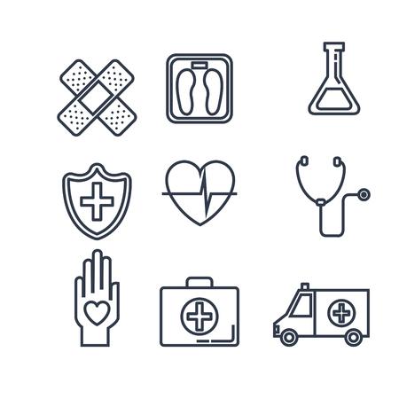 healthcare medical set icons vector illustration design 向量圖像