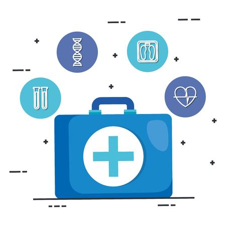 healthcare medical kit icons vector illustration design
