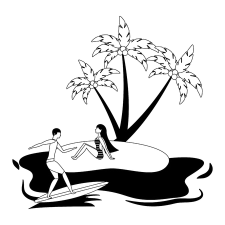 woman on beach and man on surfboard summer vector illustration black and white Stock Photo