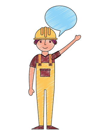 worker contruction in yellow overalls speech bubble vector illustration drawing Foto de archivo - 105316561