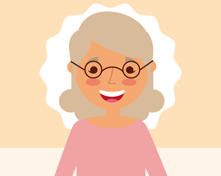 grandparents day label cute smiling grandma with glasses vector illustration Stock Photo