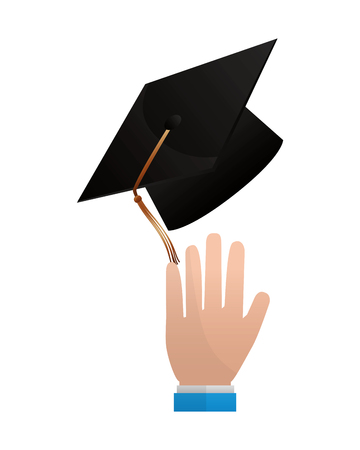 hand with graduation hat celebration vector illustration Banco de Imagens