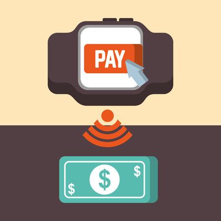 nfc payment technology wristwatch screen pay money vector illustration