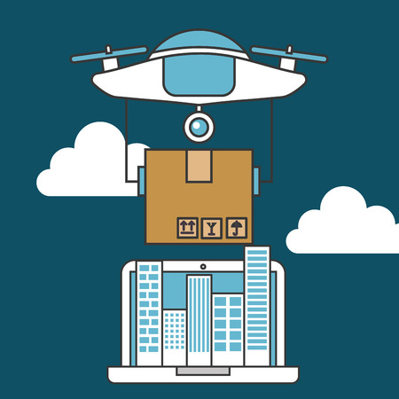 drone technology futuristic clouds high sky device holding box table vector illustration