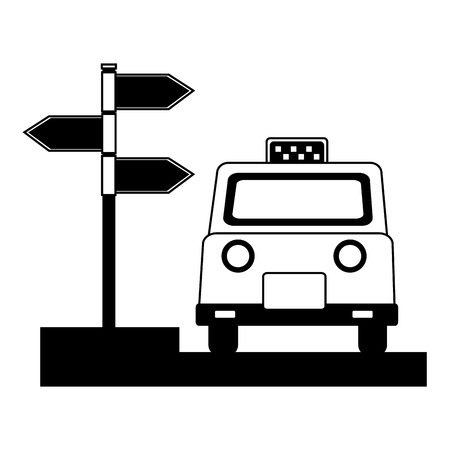 london taxi and signage with arrows vector illustration design  イラスト・ベクター素材