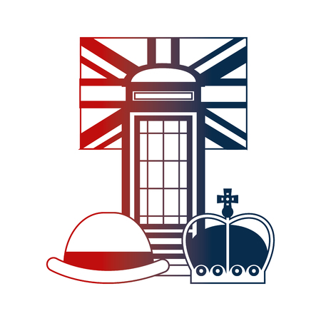 telephone booth bowler hat crown and english flag vector illustration