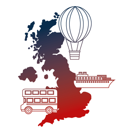 british map double deck bus ship and hot air balloon vector illustration