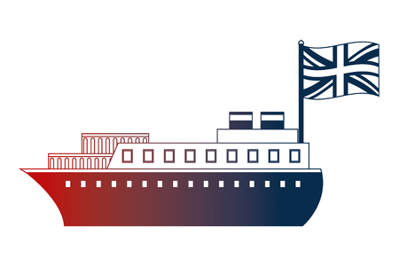 container ship boat transport english flag vector illustration