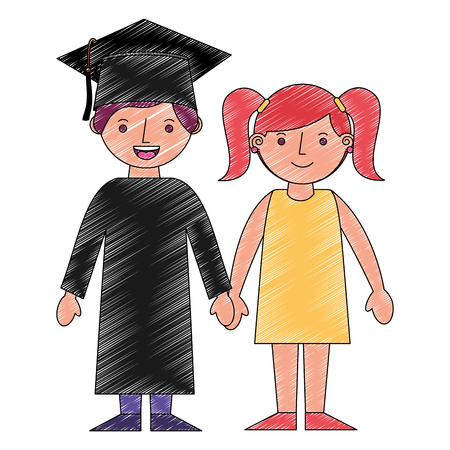 boy graduted with girl avatars characters vector illustration design