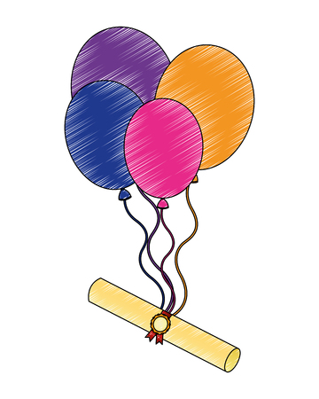 parchment diploma graduation with balloons helium vector illustration design