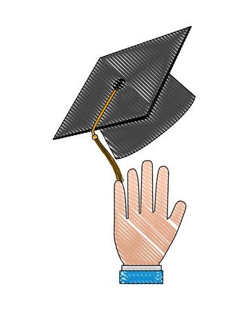 hand with hat graduation vector illustration design  イラスト・ベクター素材