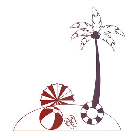 beach palm umbrella float ball sandals vector illustration neon