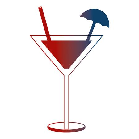 cocktail glass drink alcohol umbrella vector illustration neon Illustration