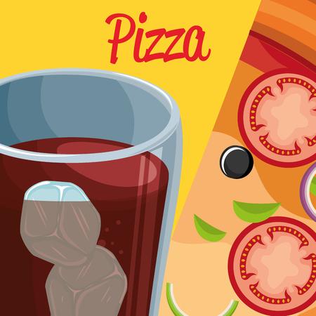 delicious italian pizza with soda glass vector illustration design Imagens - 104983195