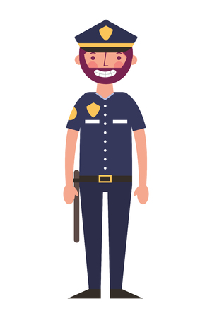 police man in uniform character vector illustration