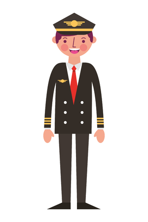 commercial airplane pilot in uniform vector illustration